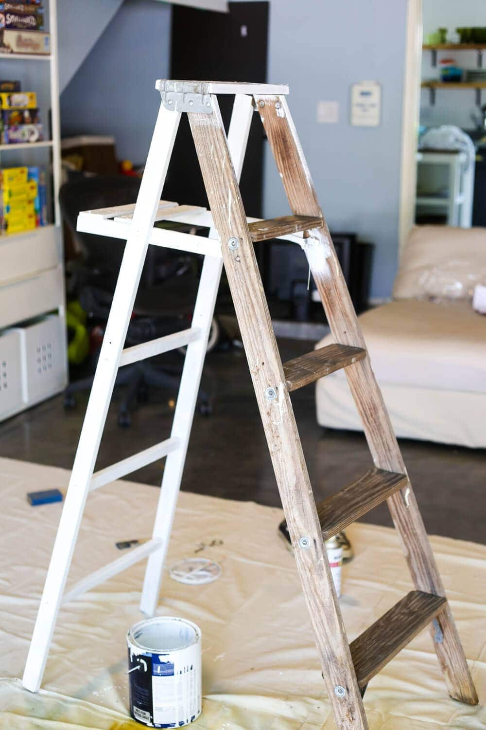 Painting ladder for tiered plant stand