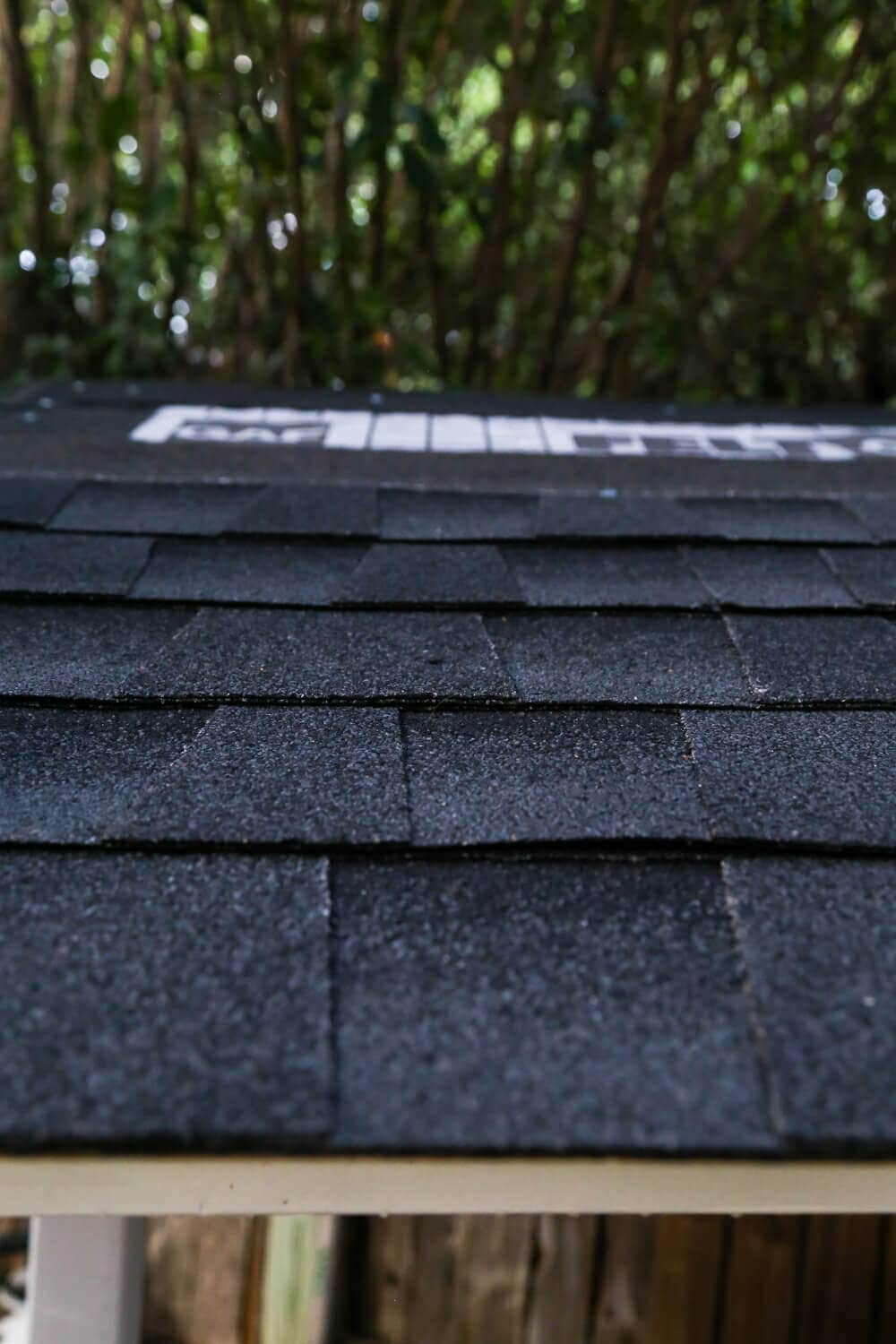 close-up of DIY-installed shingles