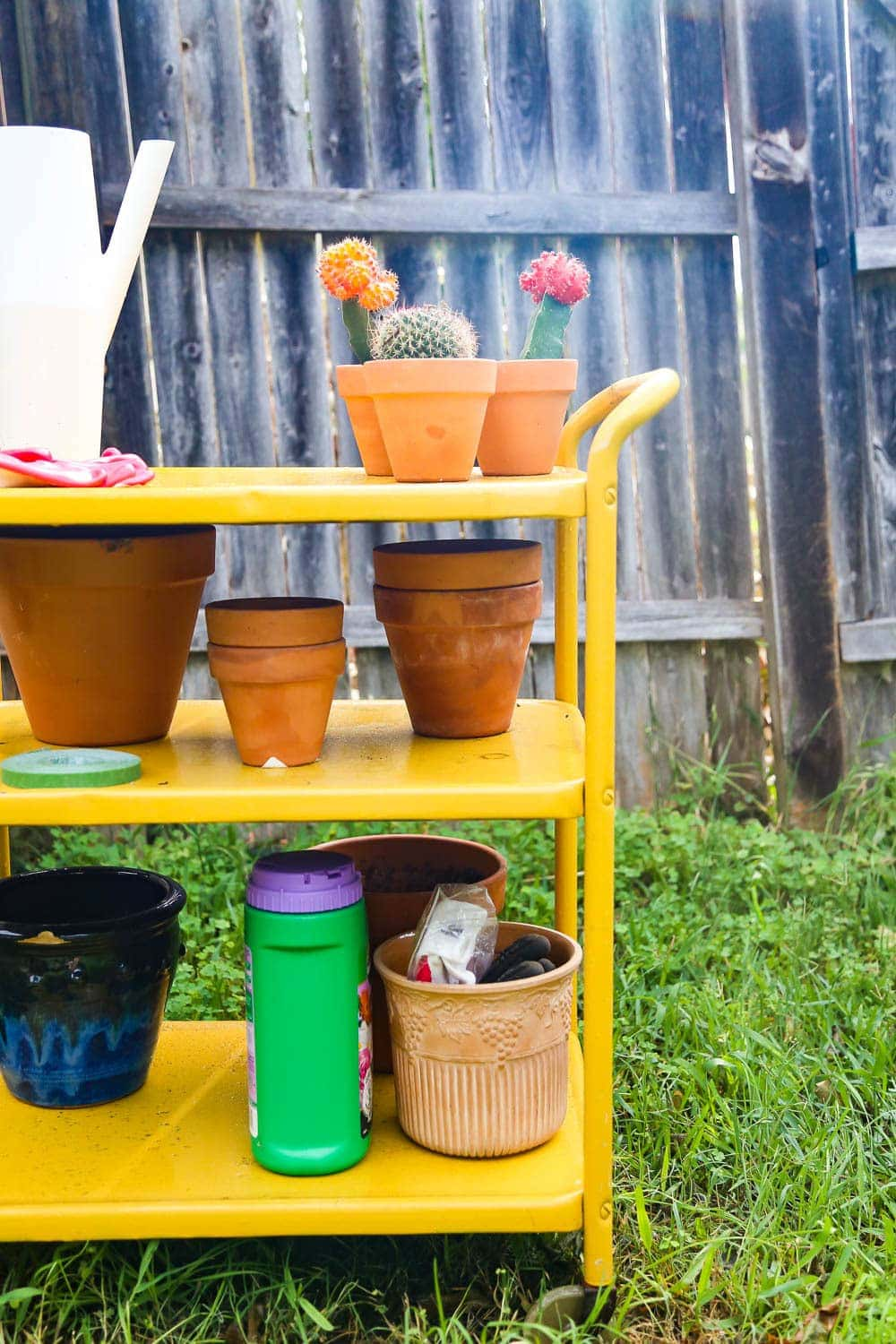 outdoor bar cart used for gardening
