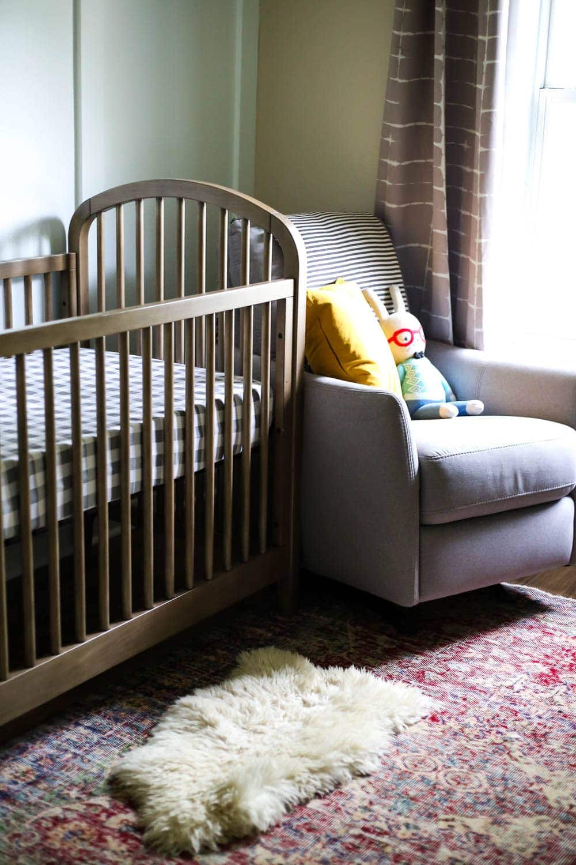 nursery crib and glider
