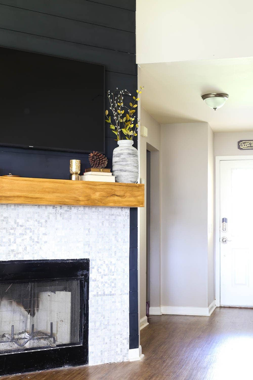 shiplap fireplace renovation DIY