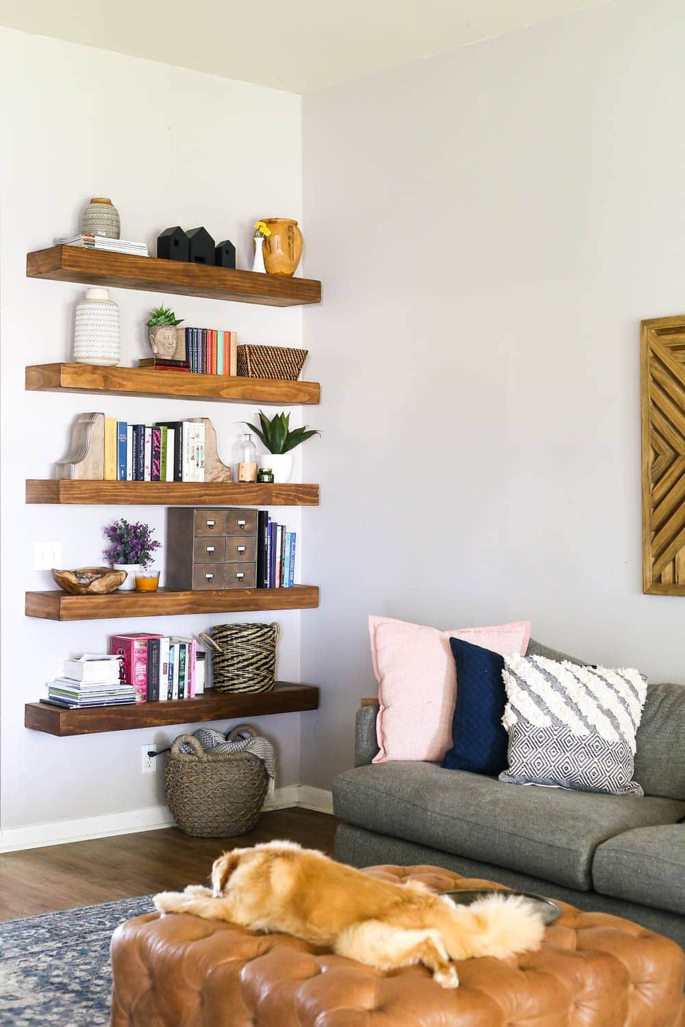open shelving styled with decorative objects
