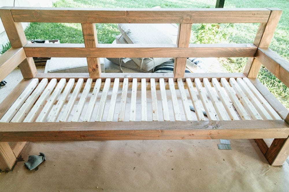 detail of slatted seats for outdoor couch