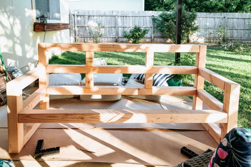 assembled wood outdoor sofa