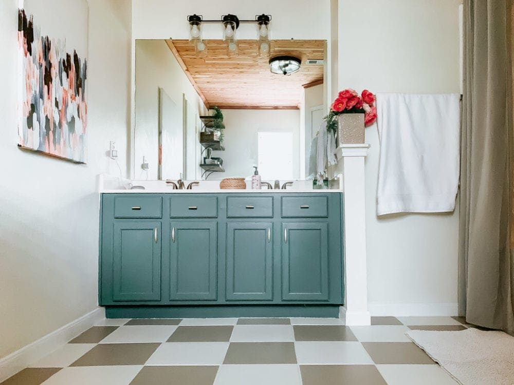 bathroom painted with DIY tile floor paint