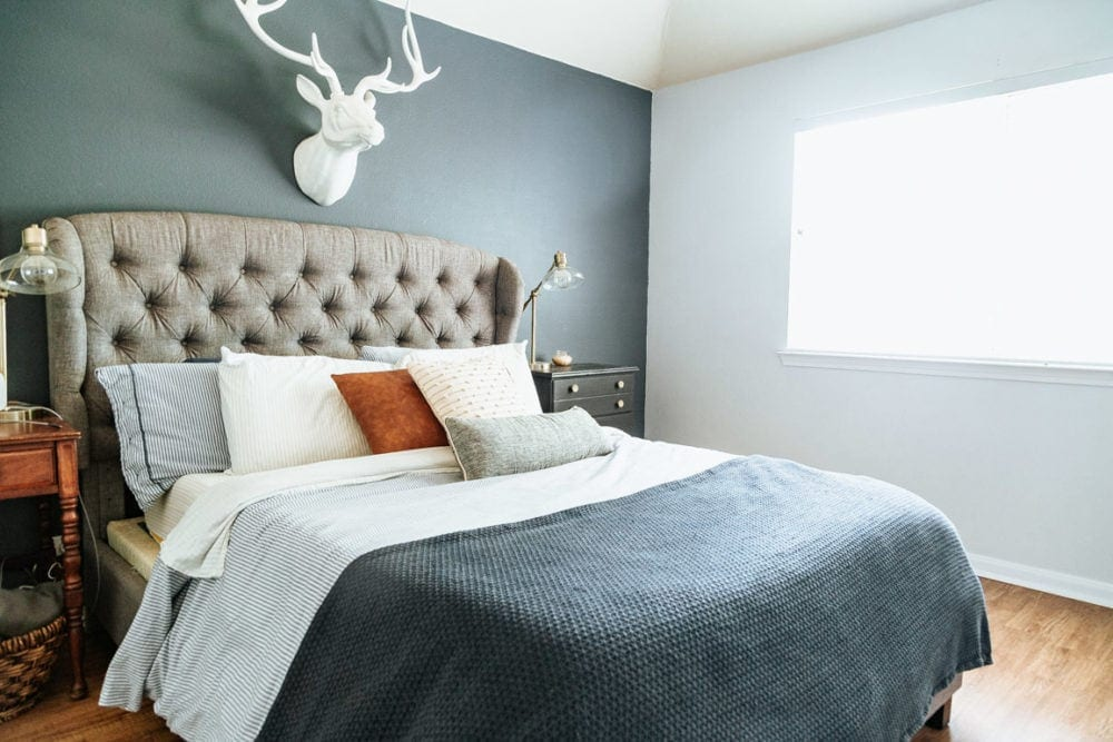 a blue and white master bedroom