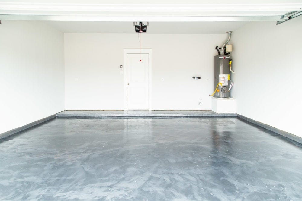 garage with epoxy floor coating