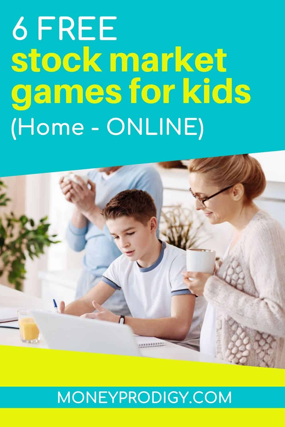 """teen child with his mother working on investing game online, text overlay """"6 free stock market games for kids - home, online"""""""