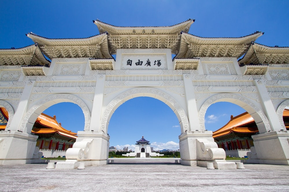 Clear sky above CKS Memorial Hall in Taipei in April. The weather in Taipei in April is some of the best of the year.