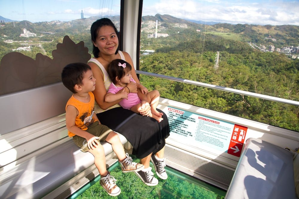 My wife and kids riding the Maokong Gondola in Taipei in November