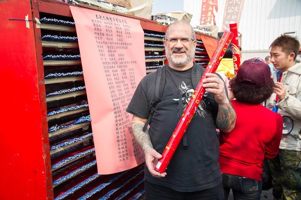Confetti tube at Yanshui Rockets Festival