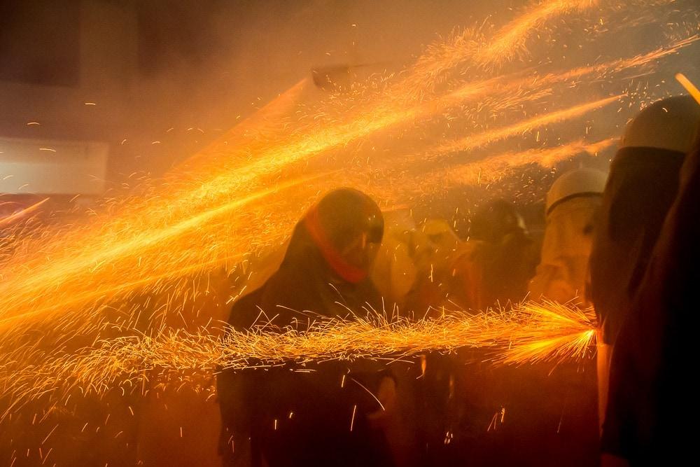 Getting hit in head by rockets at Yanshui Fireworks Festival