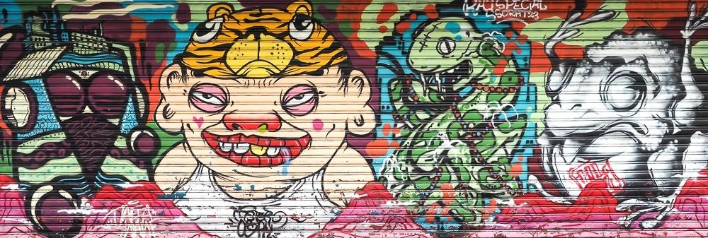 Mr Ogay street art in Ximending, Taipei