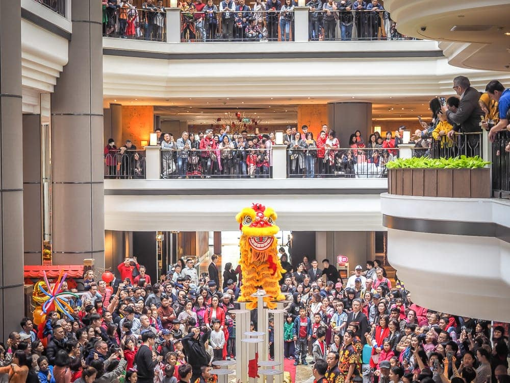 Lion Dance at Grand Hyatt Taipei, one of the best things to do in Taipei during Chinese New Year