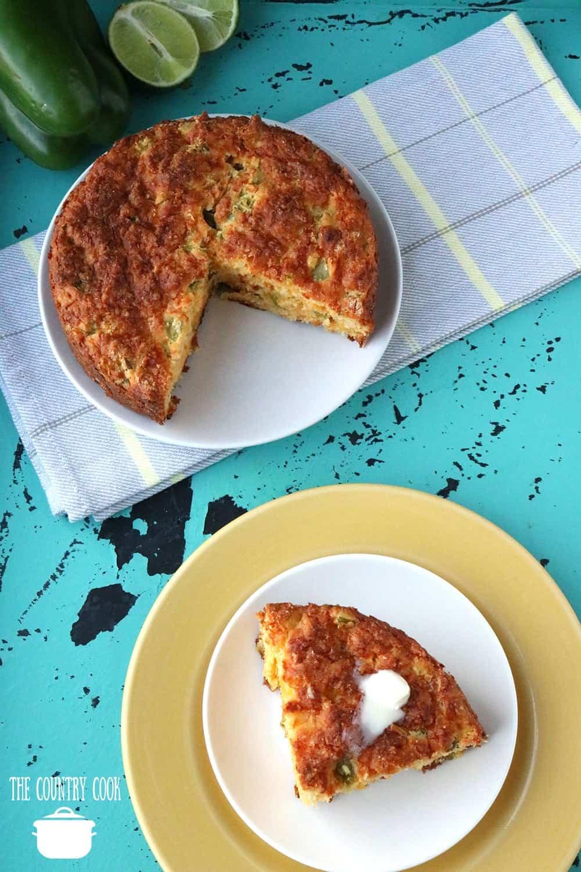 Slice, Mexican Style Cornbread recipe made in a springform pan