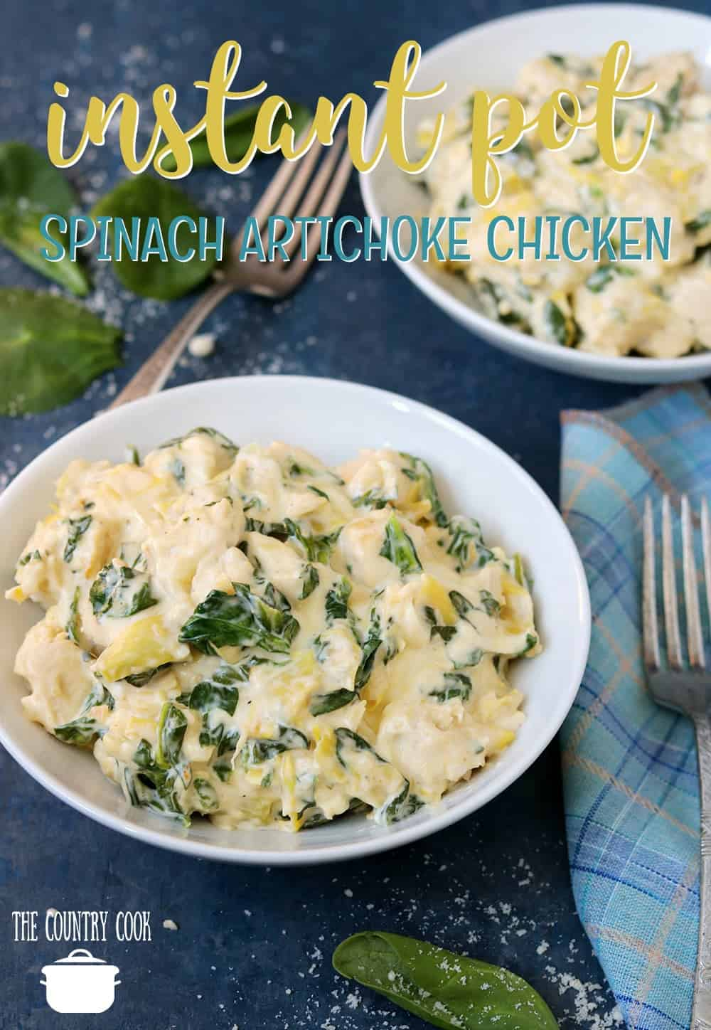 Instant Pot Spinach Artichoke Chicken recipe from The Country Cook #instantpot #pressurecooker #chicken #chickenbreast #lowcarb #easy #dinner #recipes #easy #ideas #spinach