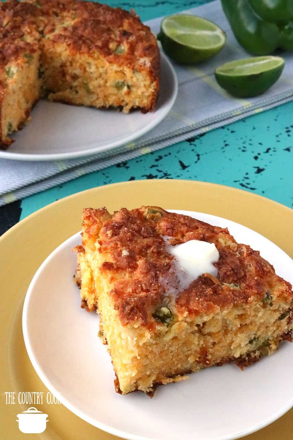 Mexican-Style Cornbread slice with melted butter on top