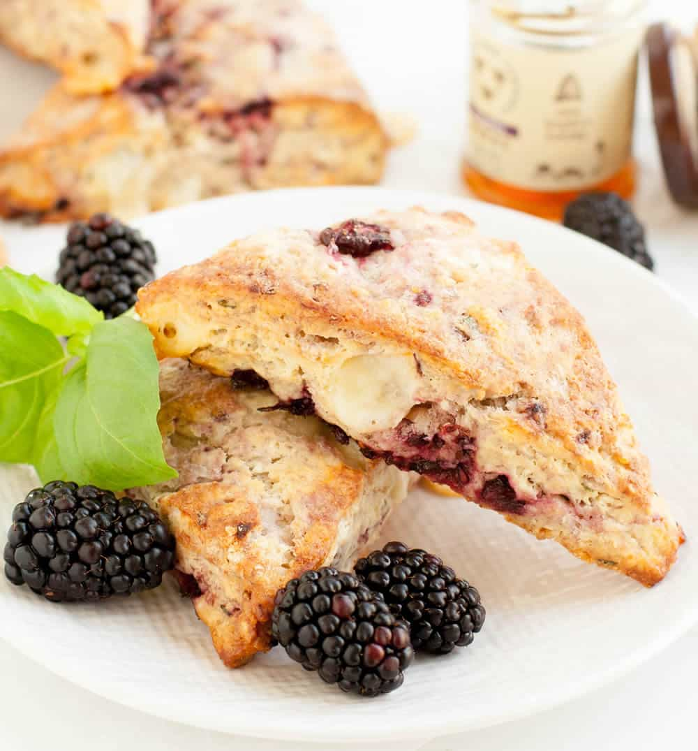 Two Blackberry Fontina Scones on a plate