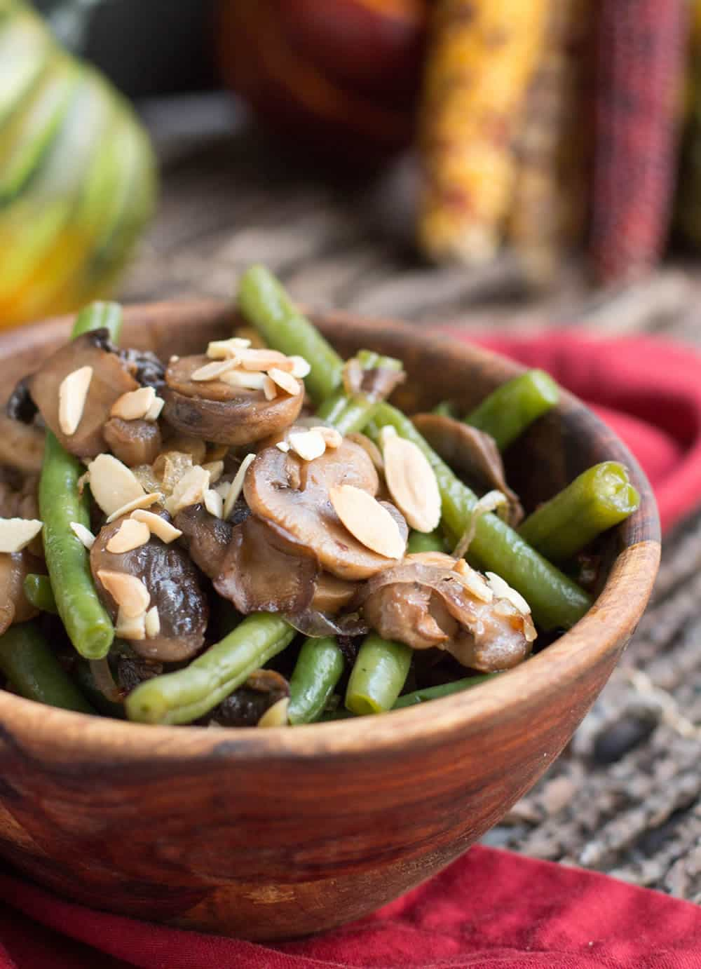 One Pan Green Beans, Mushrooms and Shallots. The flavors of traditional green bean casserole in a lighter, fresher tasting side dish. One pan easy!