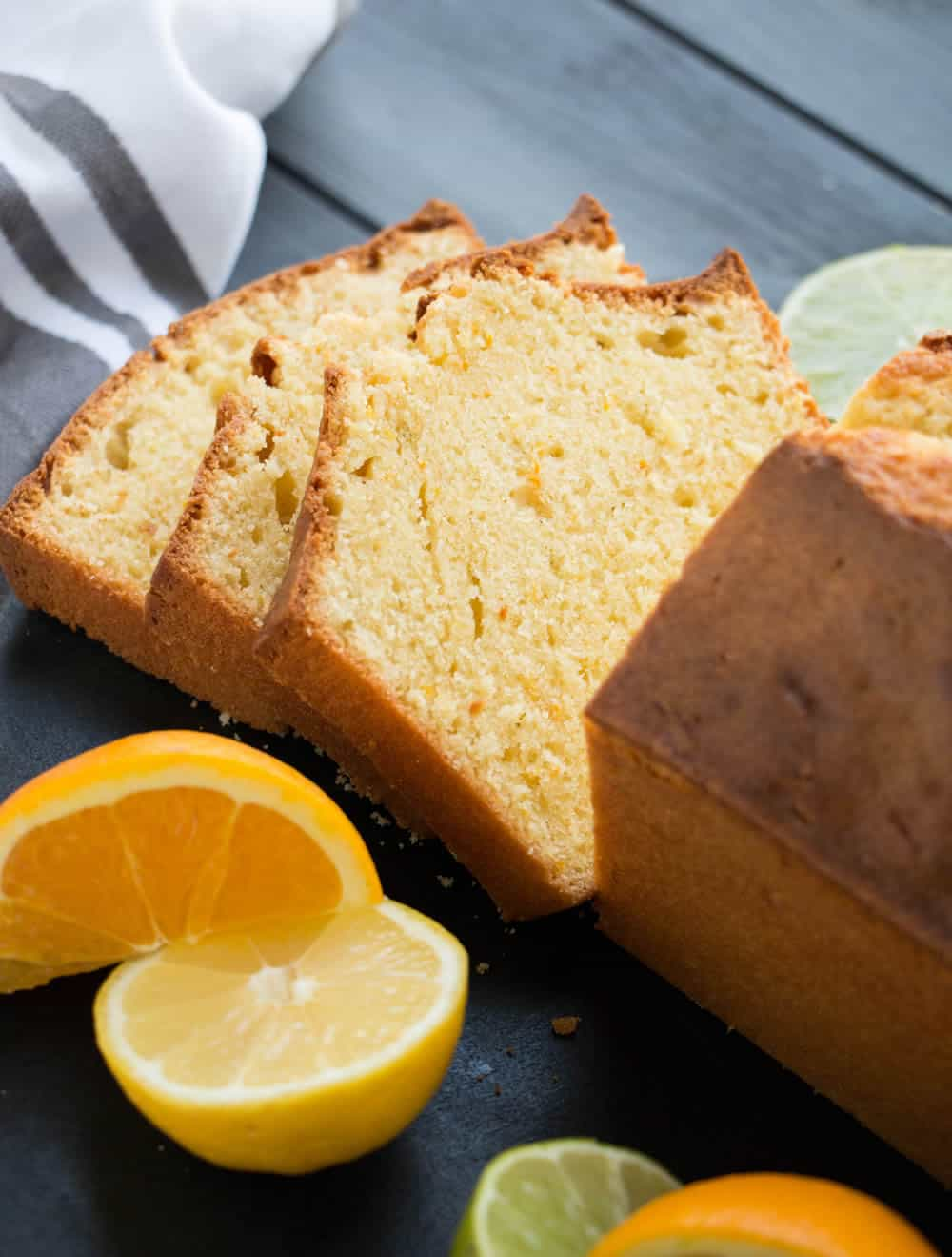 Triple Citrus Pound Cake. Fresh orange, lemon and lime brighten this cake. Sour cream provides richness. Delicious plain or as a base for other desserts.