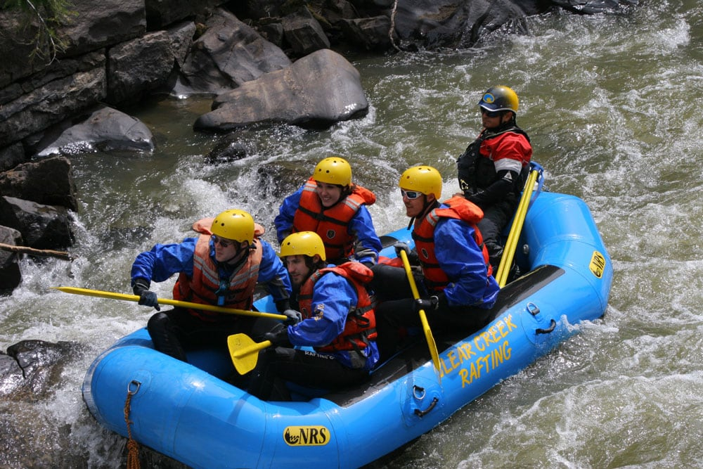 Brooke and Buddy on their first whitewater rafting experience on Clear Creek in Colorado