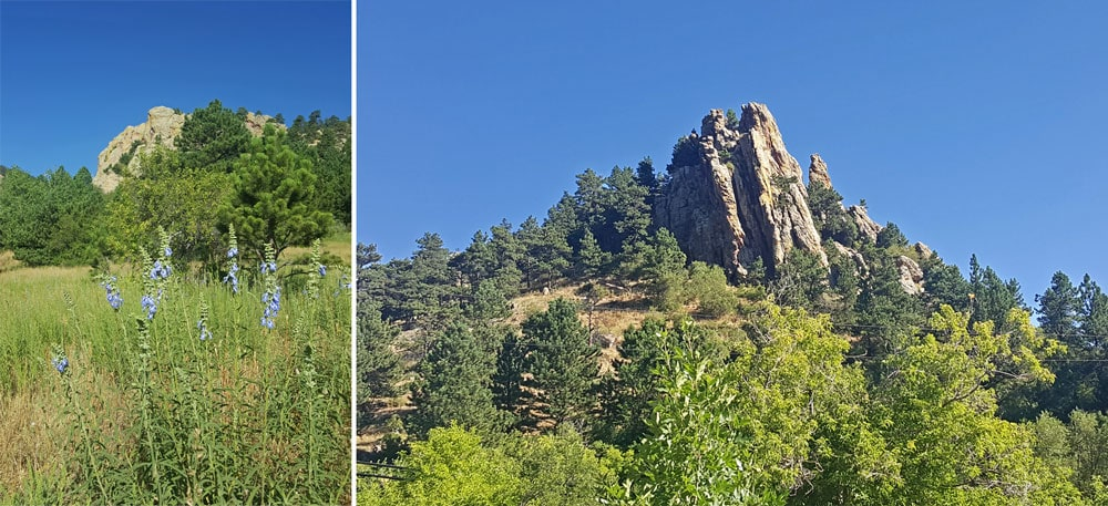 Looking up towards Mount Sanitas from the Sanitas Valley Trail