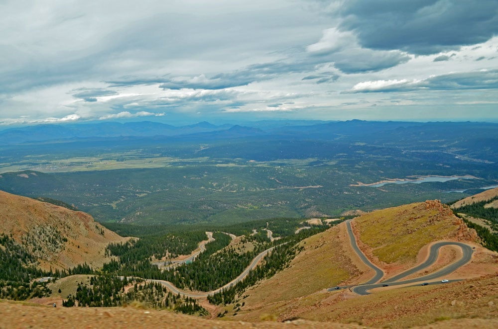 Pikes Peak road showing all the curves from a lookout