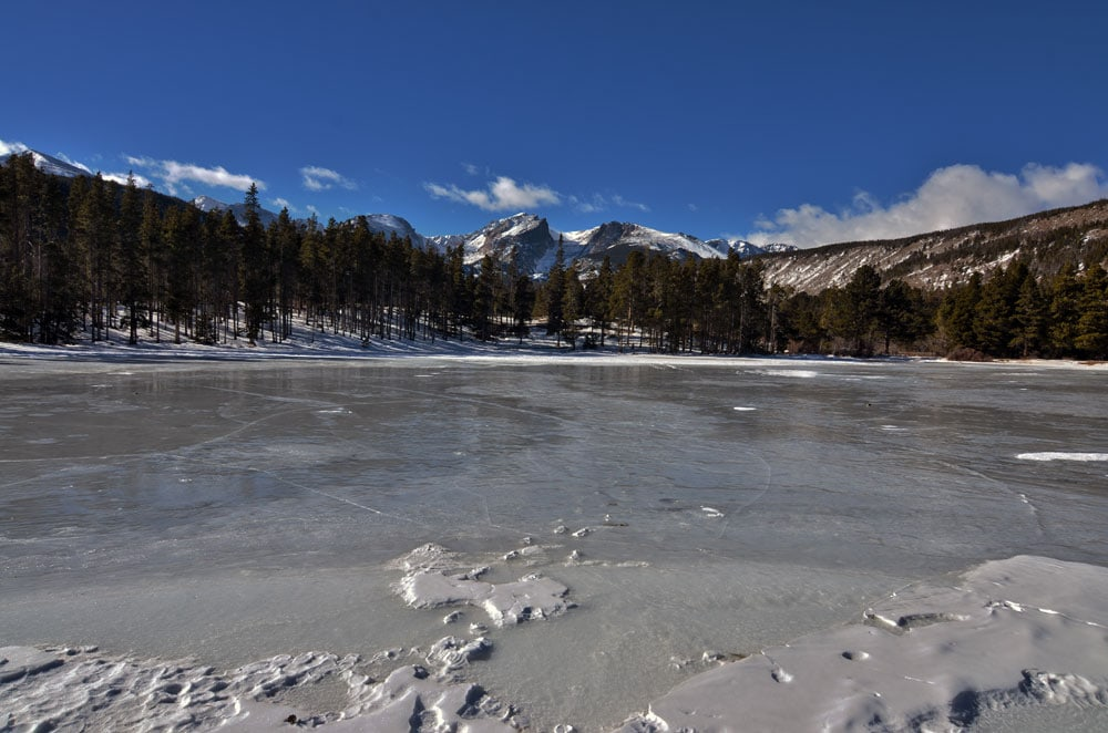 Bierstadt Lake frozen on Christmas Day