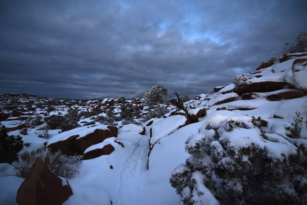 Darkness setting in Canyonlands in winter