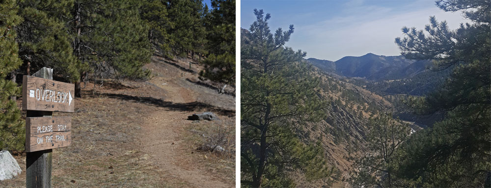 Sign to the overlook at Round Mountain, and view of the stunning Roosevelt National Forest