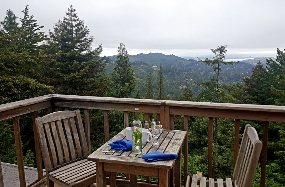 View on our porch for breakfast at Mountain Home Inn near San Francisco