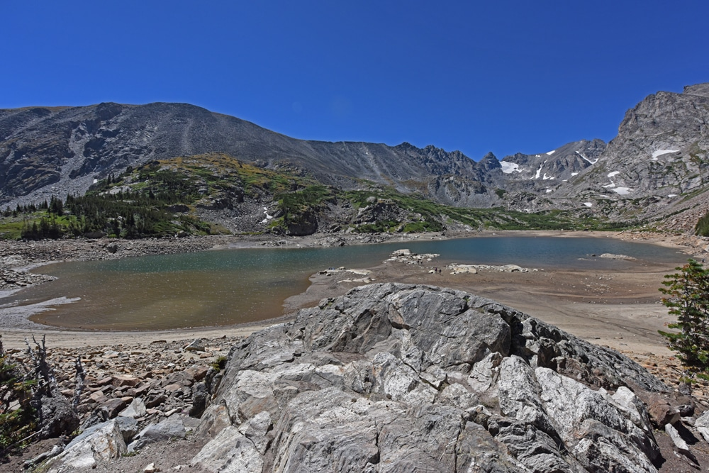 View of a partiall draing Lake Isabelle