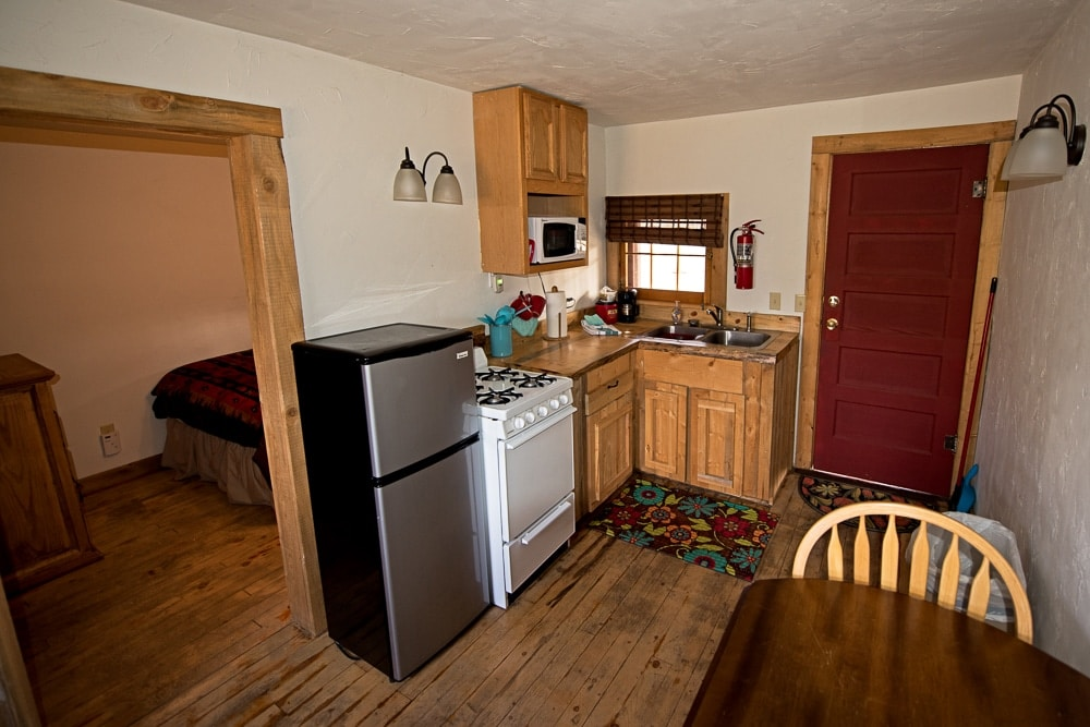 The kitchen in our cabin in Grand LAke