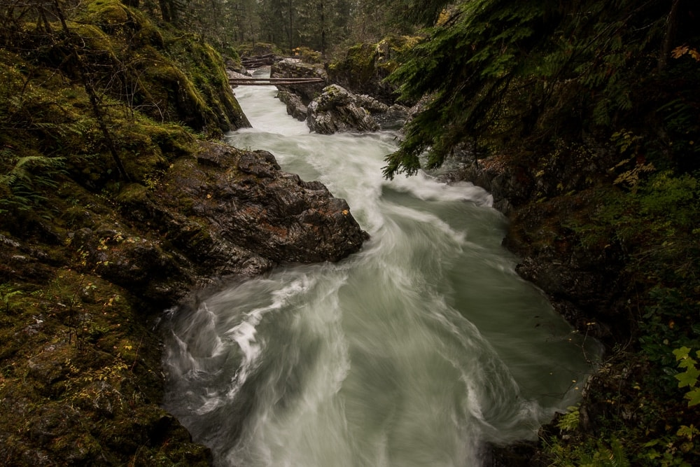 Little Qualicum Falls flowing through the canyon