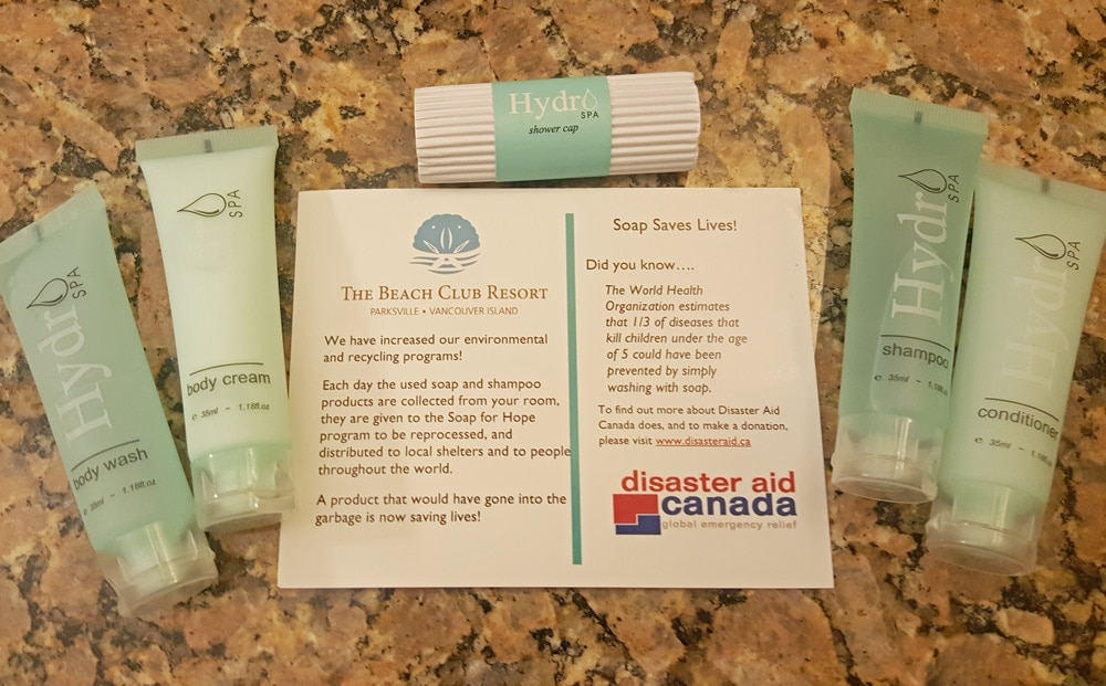 Complimentary toiletries that are donated to local shelters and others in need in the Parksville community
