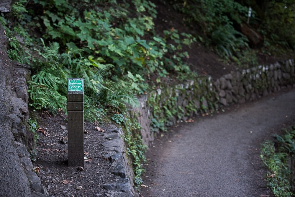Sign post showing switchback 2 of 11 during the Multnomah-Wahkeena Loop hike