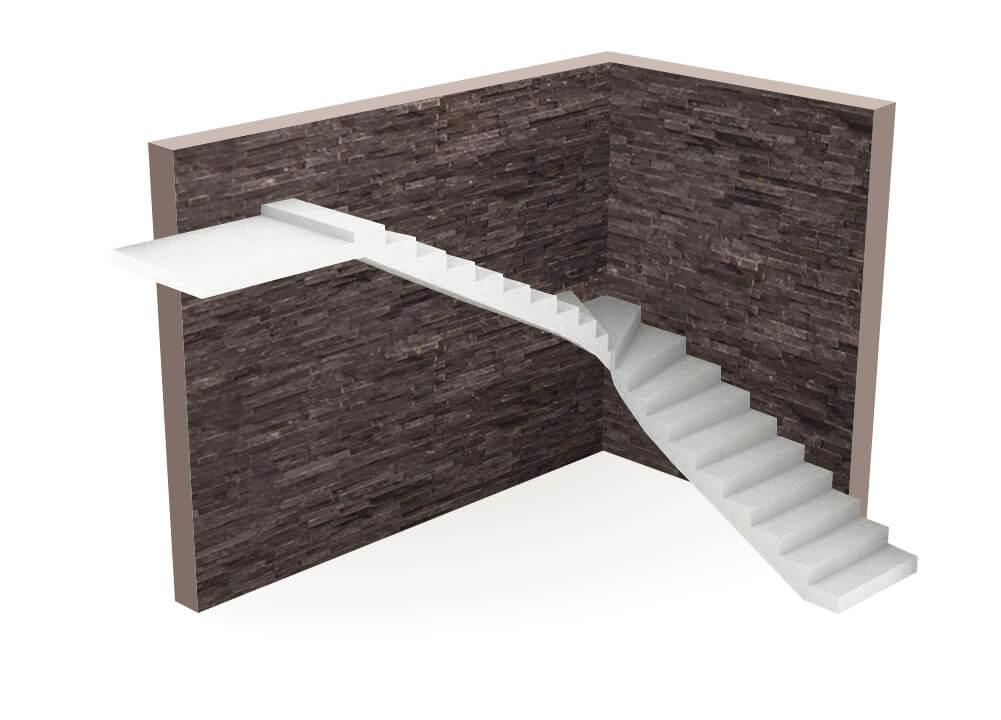 бетонная Лестница г образная с забежными ступенями