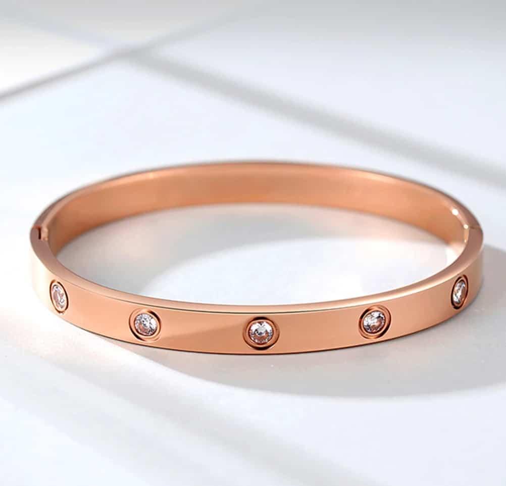 Cheap Cartier Jewelry Replica Bracelet Pendant Jewelry Titanium Stainless Steel Love Bracelet, 10 Diamonds de Cartier collection Rosegold