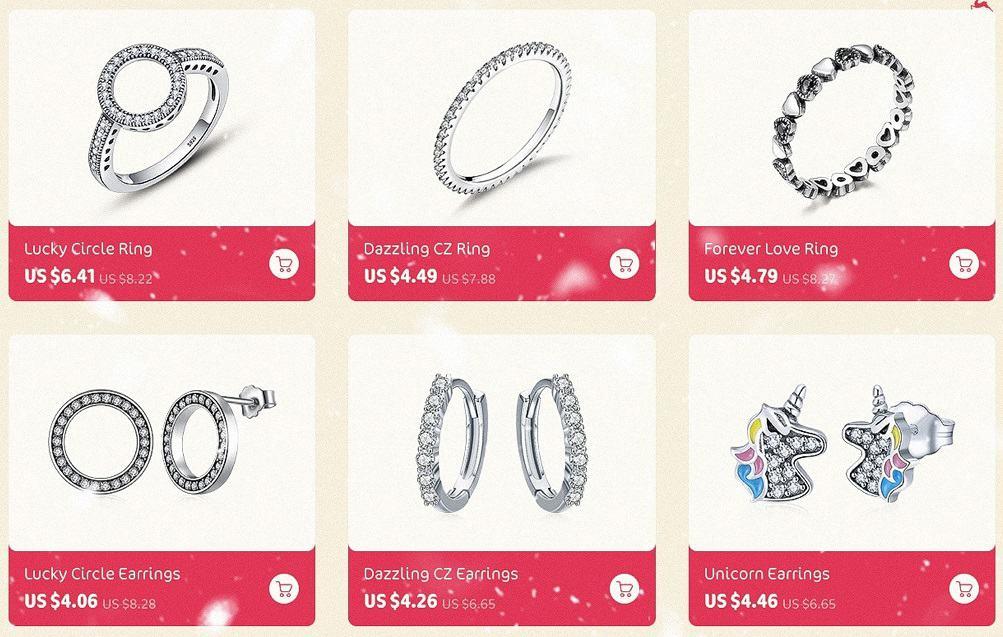 Pandora Charm Replica AliExpress Wostu1 Rings Bracelets Earrings Cheap Fake Jewelry
