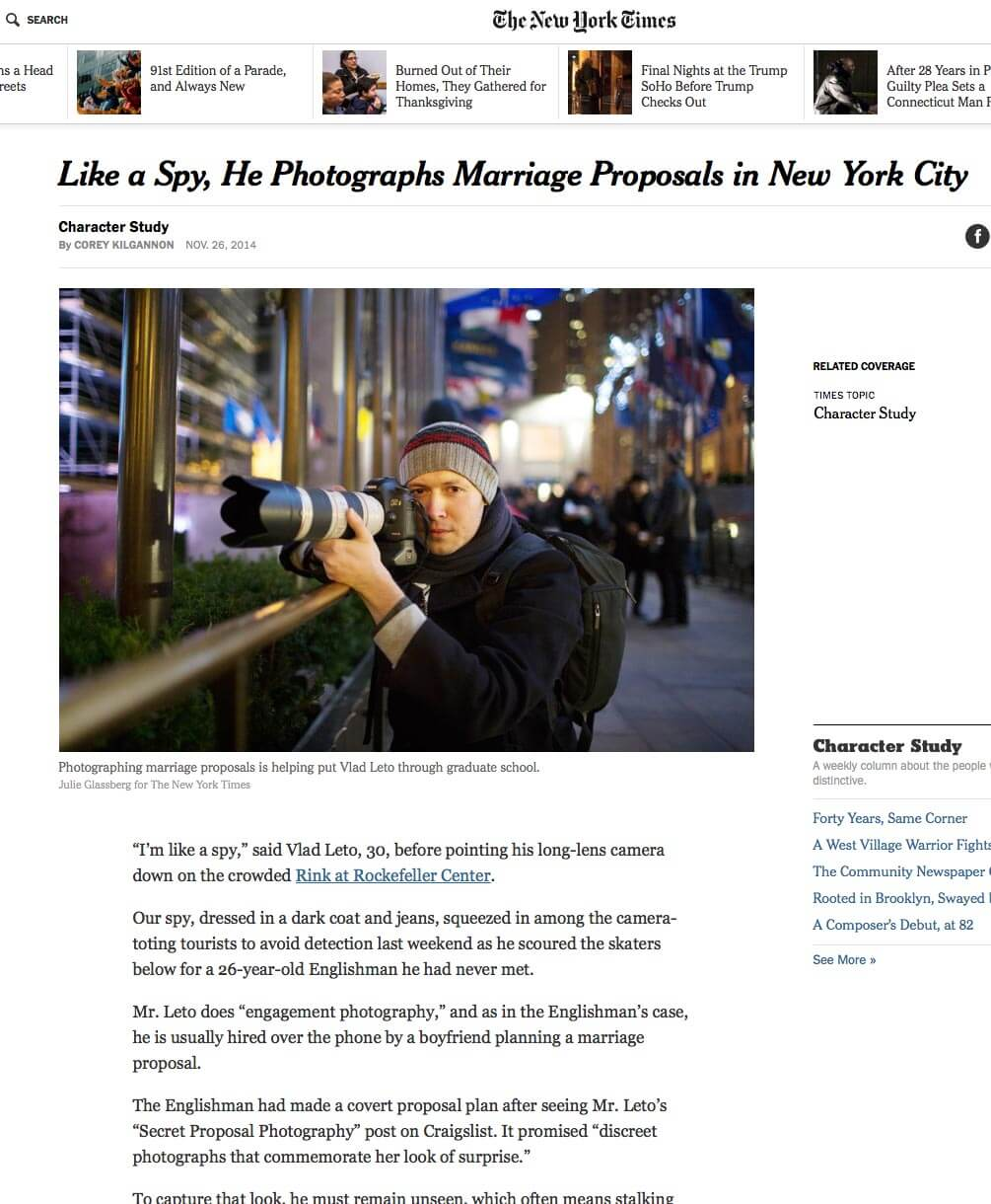 Photo New York Times Article about me! | VladLeto