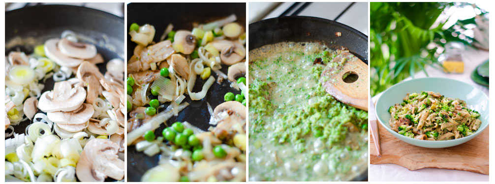 Salteamos los champiñones, puerro y guisantes junto con la salsa y mezclamos con los macarrones.
