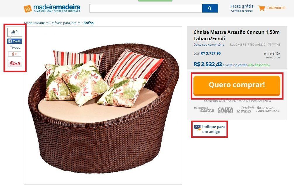 Página de Producto eCommerce: Call-to-Action claro, botones para compartir vía mail y redes sociales - Pagina De Producto eCommerce