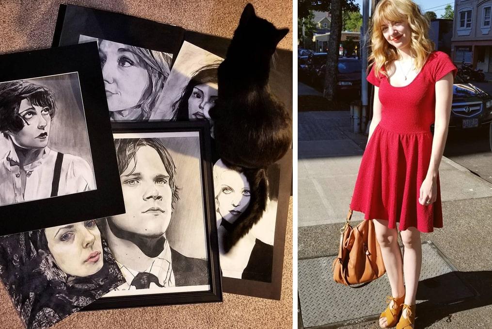 Amanda Dugdale in red dress - her art and her cat