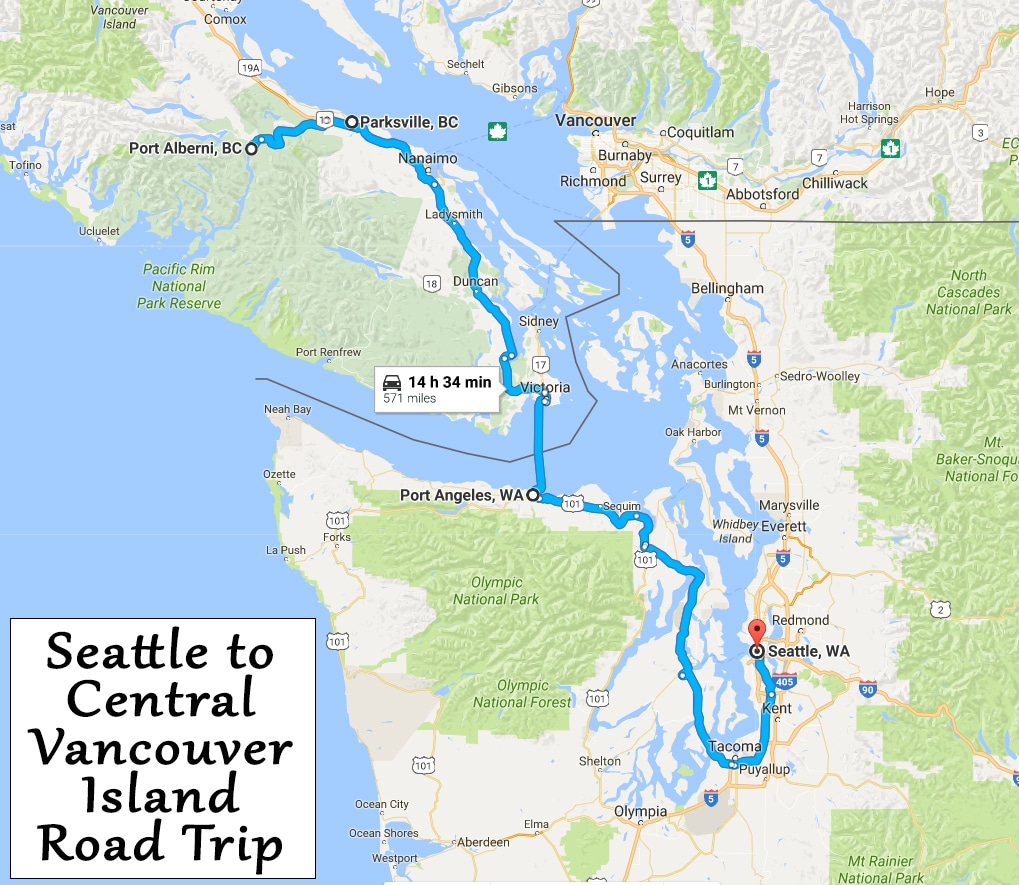 MAp infographic showing our route from Seattle to Port Alberni, BC, which took 14 hours and 35 minutes