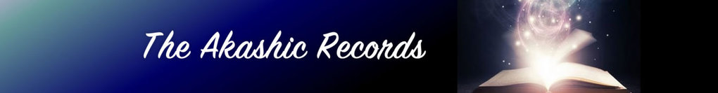 black and blue background white akashic records text and glowing book
