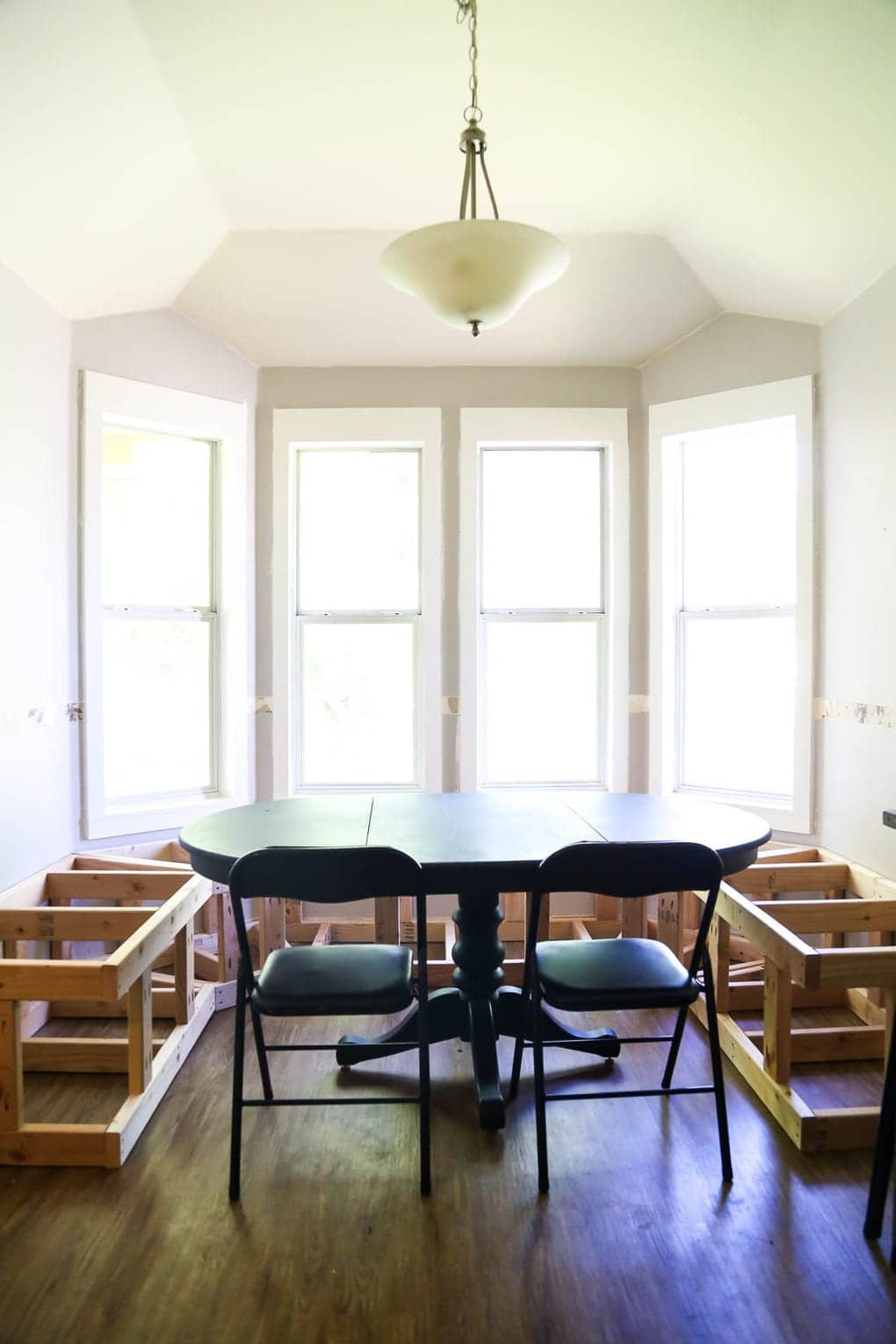 DIY banquette seating for bay window