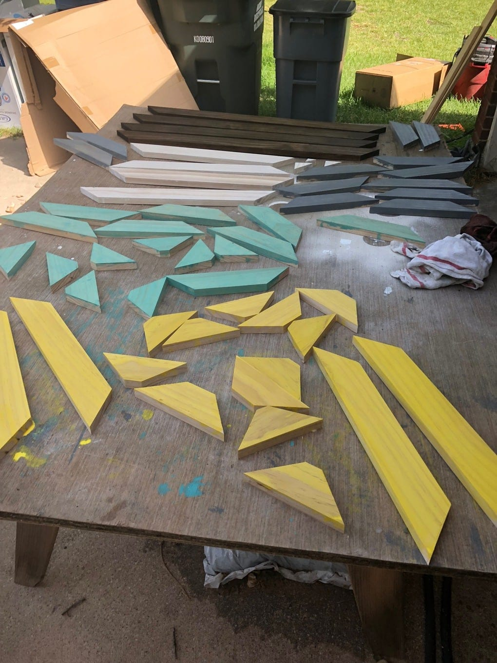 painting wood for DIY outdoor wall art