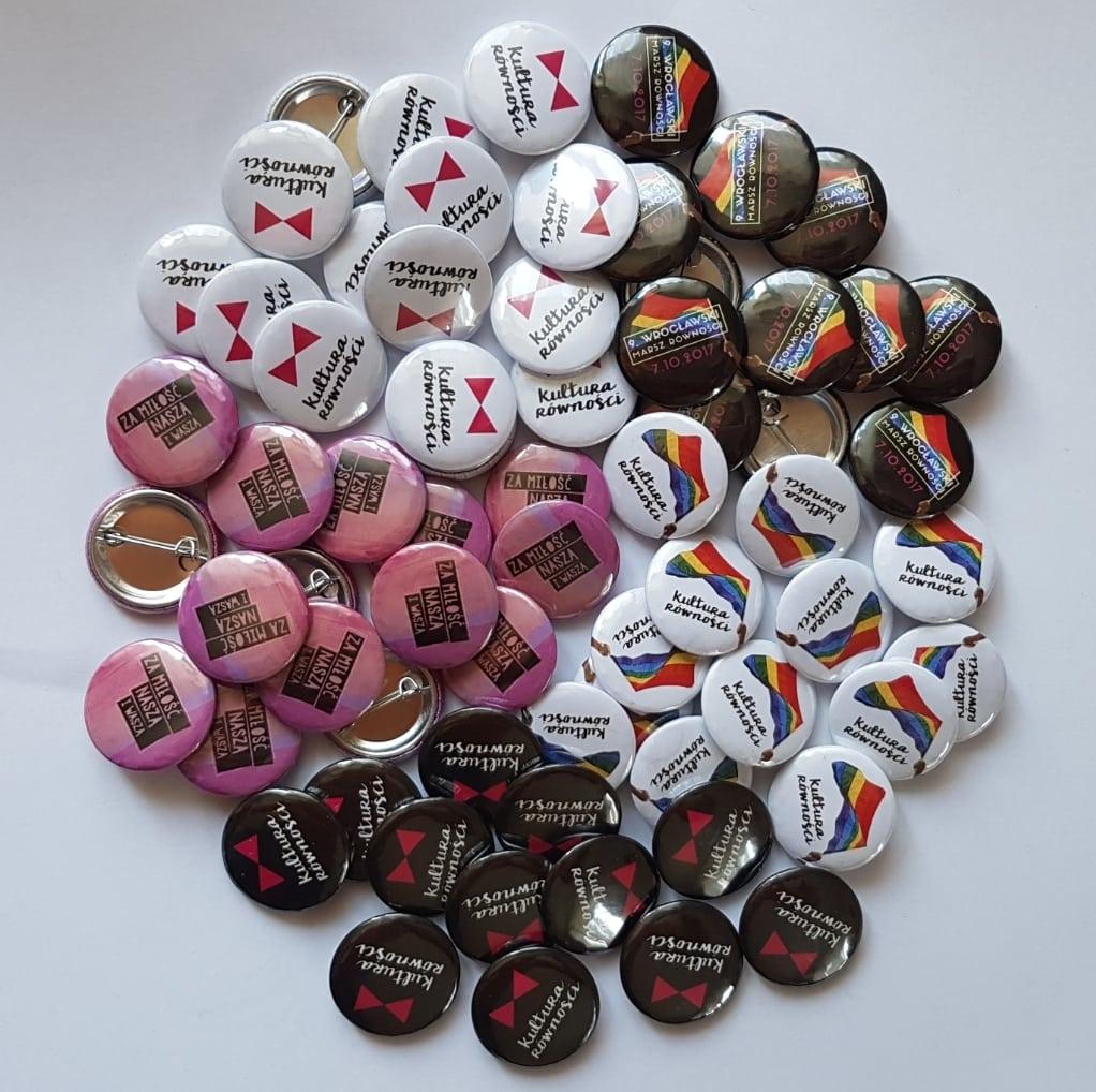 Przypinki tęczowe marsz równości rainbow gay