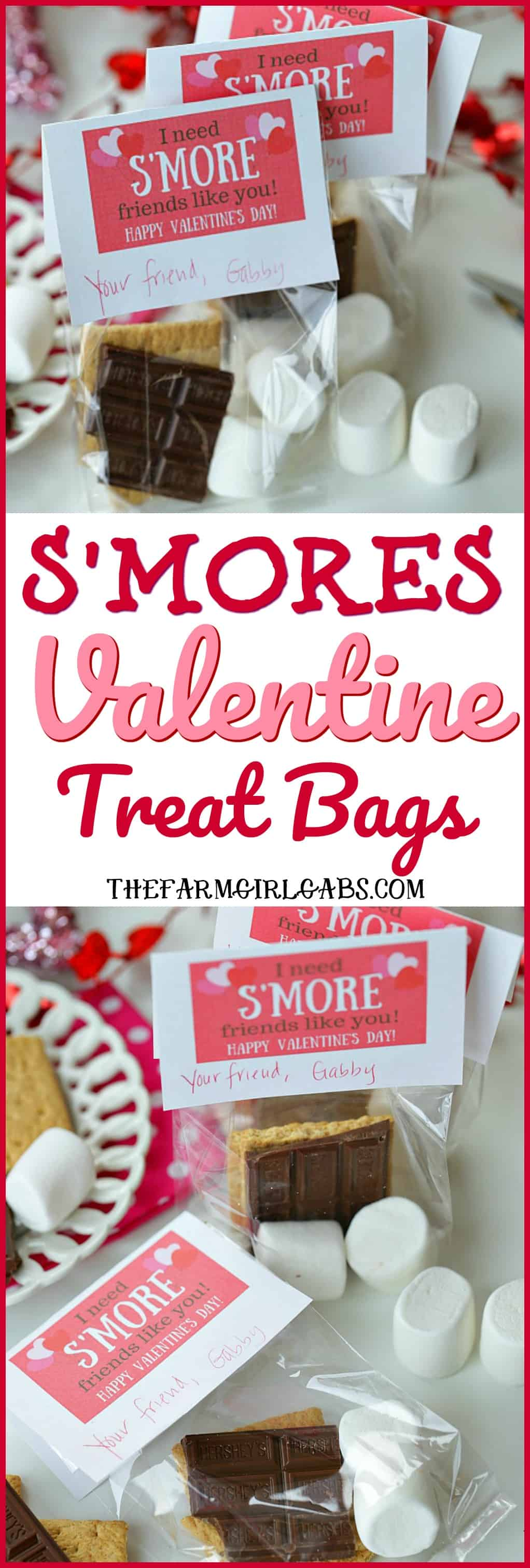 Share some campfire sweetness with your friends and create these cute S'Mores Valentine Treat Bags. #Valentines #Printables #ValentinesDayCraft #Cards