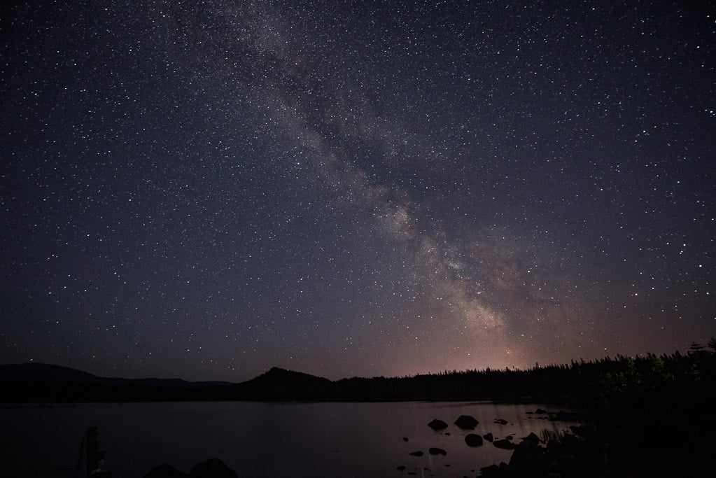 Milky Way over Berry Hill Pond on a dark night while staying at the Berry Hill Campground